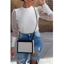 Edgy Girls Puff Sleeves Crew Neck Sheer Mesh Panel Slim Fitted Plain Knitted Top