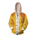 Street Boys Long Sleeve Zip Up Comic 3D Printed Cosplay Costume Relaxed Fit Hoodie in Yellow