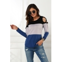 Leisure Fashion Womens Long Sleeve Round Neck Hollow Out Color Blocked Curved Hem Fitted T Shirt