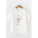 Simple Womens Short Sleeve Round Neck Floral Graphic Loose Fitted Tee Top