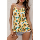 Pretty Ladies Sleeveless V-Neck Button Down All Over Sunflower Printed Relaxed Cami Top in White