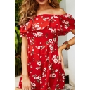 Gorgeous Ladies Red Short Sleeve Off the Shoulder All Over Floral Printed Straight Romper