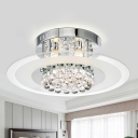 Clear Round Glass Flush Light Contemporary 4 Lights Bedroom Ceiling Mount Lamp in Chrome with Crystal Draping