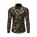 Chic Guys Long Sleeve Lapel Collar Button Down All Over Flower Bronzing Slim Shirt