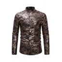 Popular Long Sleeve Stand Collar Button Down All Over Floral Bronzing Fit Shirt for Mens