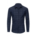 Leisure Mens Long Sleeve Lapel Collar Button Down Plaid Printed Slim Fitted Shirt in Dark Blue