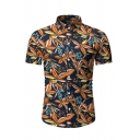 Fashionable Mens Short Sleeve Lapel Collar Button Down All Over Leaf Pattern Fitted Hawaii Shirt