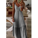 Elegant Ladies Sleeveless V-Neck Ruffle Trimmed Ombre Crisscross Pleated Maxi A-Line Cami Dress