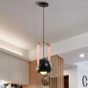 Dome Bedroom Pendant Lighting Iron 1 Light Modernist Hanging Ceiling Lamp in Black with Pink Handle