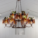 Art Deco Feather Pendant Lighting 6-Light Metallic Chandelier Light Fixture in Red-Blue-Green with 2-Layer Ring Design