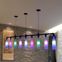 Colorful Glass Black Island Lighting Wine Bottle 9-Light Art Deco Ceiling Pendant Lamp for Bar