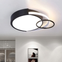 Metal Drum and Ring Flush Lamp Modernist LED Black Ceiling Flush Mount Light in Warm/White Light, 19