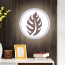 Acrylic Circular Wall Sconce Contemporary White LED Wall Mount Lighting in Warm/White Light with Sector/Leaf Pattern