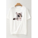 Casual Girls Short Sleeve Round Neck Cartoon Squirrel Pattern Relaxed Fit T-Shirt