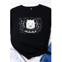 Simple Roll Up Sleeve Round Neck Bear Pattern Relaxed Fit T Shirt for Womens