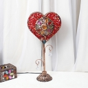 1 Head Heart Table Light Traditional Red/Yellow Metal Nightstand Lamp for Living Room