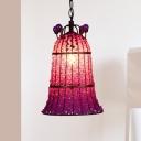 1 Bulb Metal Ceiling Lamp Decorative Pink Bell Bedroom Suspended Lighting Fixture