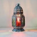 Metal Blue Night Table Lamp Lantern 1 Head Art Deco Nightstand Lighting for Bedroom