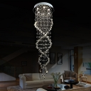 6 Lights Restaurant Multi Light Pendant Contemporary White LED Suspended Lighting Fixture with Cascade Crystal Shade