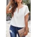 Women's Leisure Plain Short Sleeve Round Neck Half Zipper Loose T Shirt