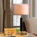 1 Bulb Study Nightstand Lamp Modern Gold Reading Book Light with Drum Fabric Shade