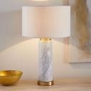 Straight Sided Shade Task Lighting Modernism Fabric 1 Bulb White Night Table Lamp