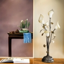 Metal Bronze Night Table Lamp Curvy 5 Bulbs Countryside LED Nightstand Light for Living Room
