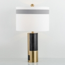 Fabric Straight Sided Shade Desk Light Modernism 1 Bulb Night Table Lamp in White