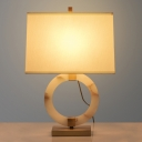 Fabric Trapezoid Desk Light Nordic 1 Bulb White Night Table Lamp with Gold Metal Base