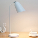 1 Head Living Room Table Lamp Modern Black/White Reading Book Light with Cone Metal Shade