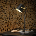 Contemporary 1 Bulb Task Lighting Black Tapered Small Desk Lamp with Metal Shade
