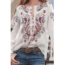 Ladies' Fancy Ethnic Long Sleeve V-Neck Button Down Loose Fit Shirt