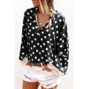 Leisure Cozy Women's Long Sleeve Lapel Neck Polka Dot Printed Lace Trim Loose Fitted Shirt