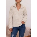 Thickened Classy Long Sleeve Stand Collar Sherpa Fleece Solid Color Relaxed Pullover Sweatshirt for Women
