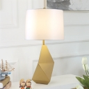Cylinder Nightstand Lamp Modern Fabric 1 Head Reading Book Light in White with Gold Geometric Metal Base
