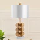 1 Head Living Room Task Light Modern White Night Table Lamp with Tubular Fabric Shade