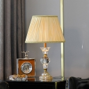 Modernist Curved Table Lamp Clear Crystal 1 Bulb Desk Light in Beige with Fabric Shade
