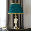 1 Bulb Urn Desk Lamp Modern Cut Crystal Task Lighting in Green with Fabric Shade