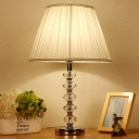 Modern 1 Bulb Reading Light White Tapered Drum Nightstand Lamp with Fabric Shade