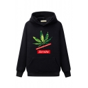 Guys' Trendy Long Sleeve Letter SMILE Leaf Printed Pouch Pocket Relaxed Fit Hoodie