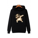 Kpop Guys Long Sleeve Funny Dog Printed Sherpa Lined Thick Hoodie with Pocket