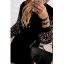 Fashion Street Women's Long Sleeve Round Neck Sequined Patchwork Mini Sheath Dress in Black