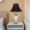 Contemporary Urn Shape Reading Light Hand-Cut Crystal 1 Head Nightstand Lamp in Black