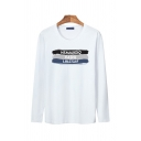Cozy Men's Long Sleeve Round Neck Letter NSMAUIOIQ Printed Loose Fit Tee