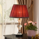 Fabric Wide Flare Table Light Modernist 1 Head Small Desk Lamp in Blue/Red for Bedroom