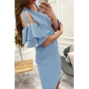 Designer Women's Solid Color Short Sleeve Round Neck Ruffled Hollow Out Short Bodycon Dress