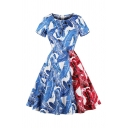 Unique Women's Popular Short Sleeve Zipper Back All-Over Feather Printed Colorblock Long Pleated Flared Dress in Blue
