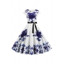 Pretty Ladies Short Sleeve Round Neck Flower Pattern Bow Tie Waist Maxi Pleated Swing Dress