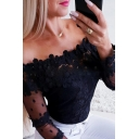 Chic Hot Black Long Sleeve Off the Shoulder Sheer Mesh Patched Lace Trim Slim Fit T-Shirt for Party Girls