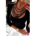 Edgy Ladies' Solid Color Long Sleeve Round Neck Hollow Out Pearl Decoration Fitted T Shirt